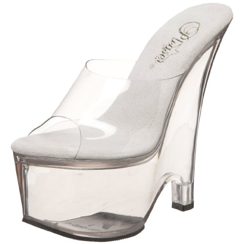 Pleaser Women's Beau-601 Platform Wedge Sandal,Clear/Clear,8 M US (Pleaser Belle)