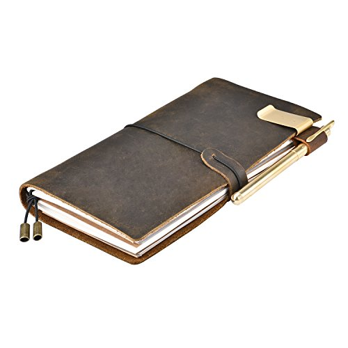 IDEAWIN Leather Journal Writing Notebook 8.6×4.7 Vintage Handmade Leather Bound Daily Notepad For Men  Women Gift for Art Sketchbook, Travel Diary …