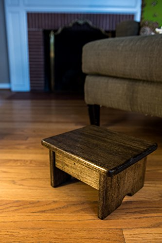 Foot Stool Poplar Wood Walnut Stain 9″ Tall Mini (Made in the USA)