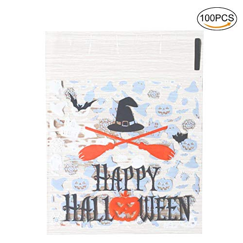 Wicemoon 100pcs Plastic Halloween Candy Gift Bags Wizard Hat and Broom Pattern - 10cm x 10cm x 3cm]()