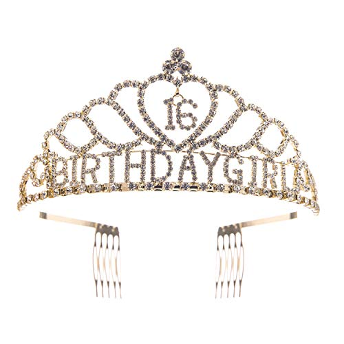 Rosemarie Collections Women's Rhinestone Birthday Tiara Crown (Sweet 16 Gold Tone)