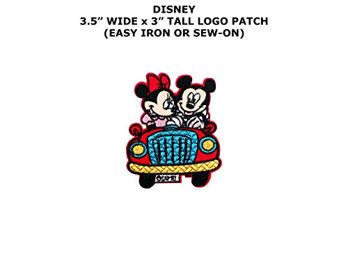 Mickey and Minnie Red Car Embroidered Iron/Sew-on Comic Cartoon Theme Logo Patch/Applique - Minnie Mouse Costume Red Jeans
