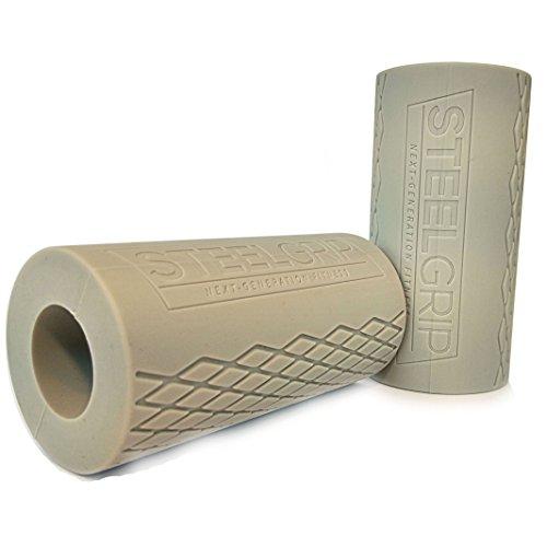steelgrip®–Bras de Formation avec grips Fat gripz–Grips en silicone gris pour les gains de masse et Force de préhension, bras de boules effervescentes
