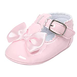SHOBDW Girls Shoes, Newborn Infant Baby Girls Crib Soft Sole Anti-Slip Sneakers Cute Sweet Bowknot Shoes