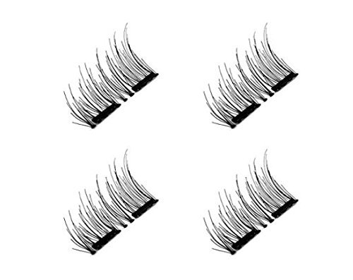 Magnetic False Eyelashes, 3D Black Dual Magnetic, Ultra Thick Ultra Solf And Long for Entire Eyes, Glamorous, Natural Look, Handmade Reusable Eyelashes (Black) 1 Pair/4Pcs