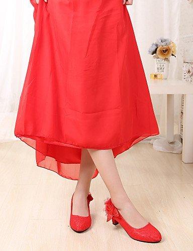 Hochzeitsschuhe Damen Rundeschuh ShangYi Rot 1in Hochzeit Geschlossene High Absätze Heels Zehe 6w57x7d