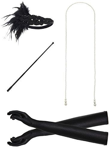 JustinCostume 1920s Accessories Headband Necklace Gloves Cigarette Holder (W)]()
