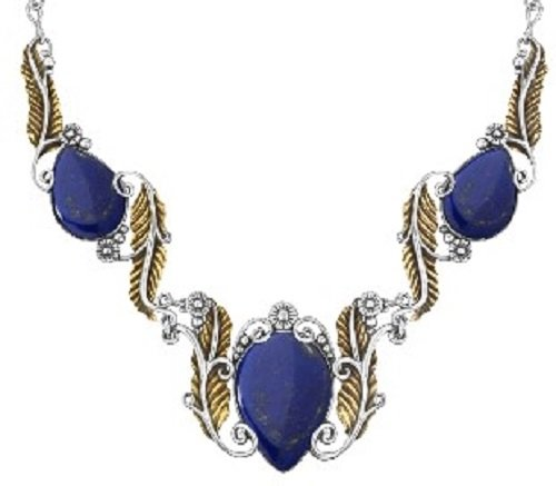 Sterling Silver Mixed Metal Lapis Leaf Statement Necklace, 16 Inch by American West