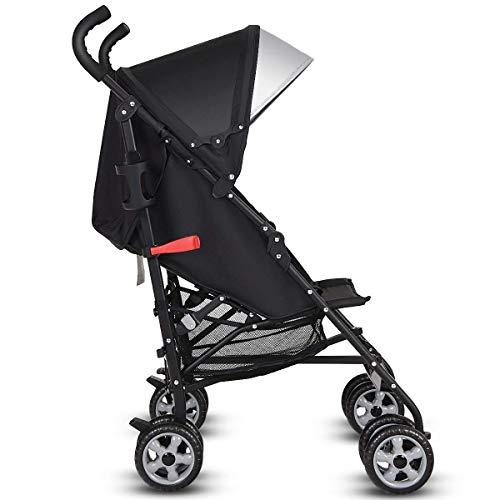 HONEY JOY Lightweight Stroller, Aluminum Baby Umbrella Convenience Stroller, Travel Foldable Design with Oxford Canopy/ 5-Point Harness/Cup Holder/Storage Basket (Black)