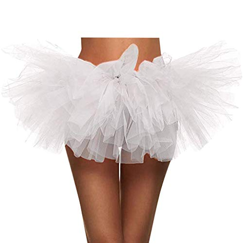 UOFOCO Elastic 5 Layered Short Skirt Women Paillette Adult Tutu Dancing Tutu Skirt White by UOFOCO (Image #1)