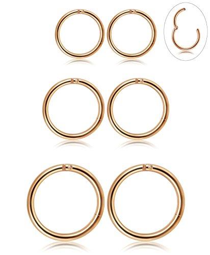 3 Pair Stainless Steel 16G Sleeper Earrings Septum Clicker Nose Lip Ring Body Piercing Rose Gold ()