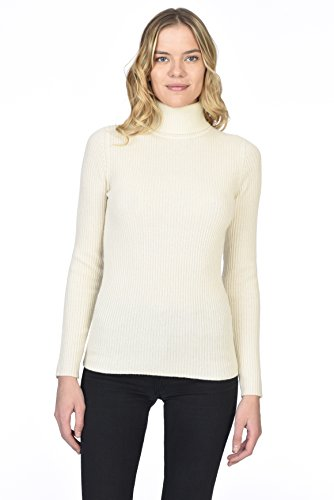 State Cashmere Ribbed Turtleneck Sweater 100% Pure Cashmere Long Sleeve Pullover for Women (Ivory, Medium)