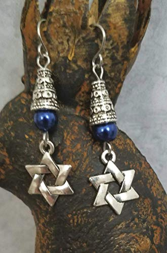 Star of David Earrings Blue Accent
