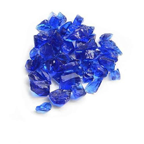 Skyflame 10-Pound Recycled Fire Glass for Fire Pit/Fireplace/Vase Fillers/Garden Landscapes, Cobalt Blue