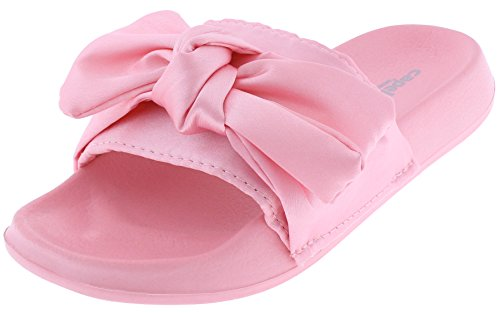 Sandals Bow Satin (Capelli New York Girls Slide with Satin Bow Trim Light Pink 1/2)