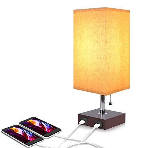 Bedside Table Lamp USB, Aooshine Modern Desk Lamp, Solid Wood Nightstand Lamp with Unique Shade and Havana Brown Wood Base, Ambient Light and 2 Useful USB Charging Port Perfect for Bedroom or Office