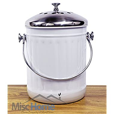 +Sale+ Indoor Kitchen Stainless Steel Compost Bin - White - 1.2 Gallon Container with Double Charcoal Filter for Odor Absorbing - Perfect Caddy for Any Counter Top - Non Stick Bucket for Easy Tossing