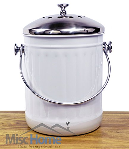 Indoor Kitchen Stainless Steel Compost Bin - White - 1.2 Gallon Container with Double Charcoal Filter for Odor Absorbing - Perfect Caddy for Any Counter Top - Non Stick Bucket for Easy Tossing (Compost Bins Kitchen compare prices)