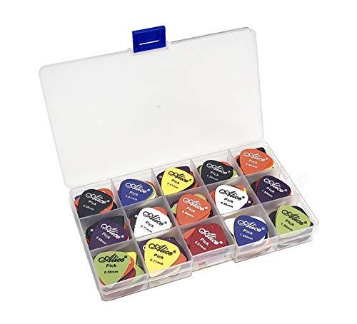 100pcs Alice Matte Anti-Skid Acoustic Electric Guitar Picks Plectrum Various Colors 6 Thickness 0.58/0.71/0.81/0.96/1.20/1.50 mm With Pick Case Storage Box (Guitar Pick Storage Case)