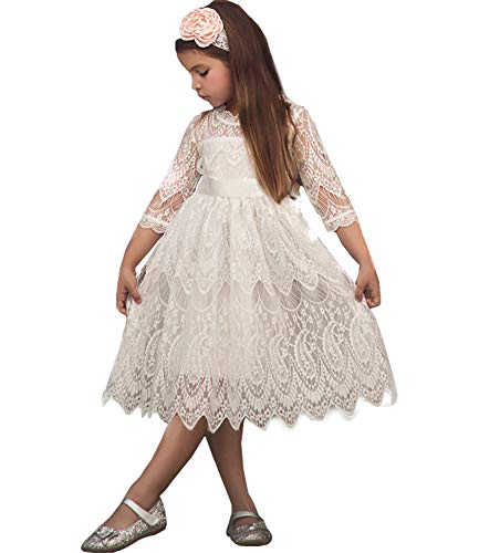 NNJXD Girls Lace Princess Dress Flower Girl's Bridesmaid Wedding Party Pageant Vintage Dresses Size(110) 3-4 Years 05White ()