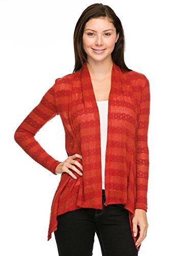 2LUV Plus Women's Horizontal Striped Plus Knit Cardigan