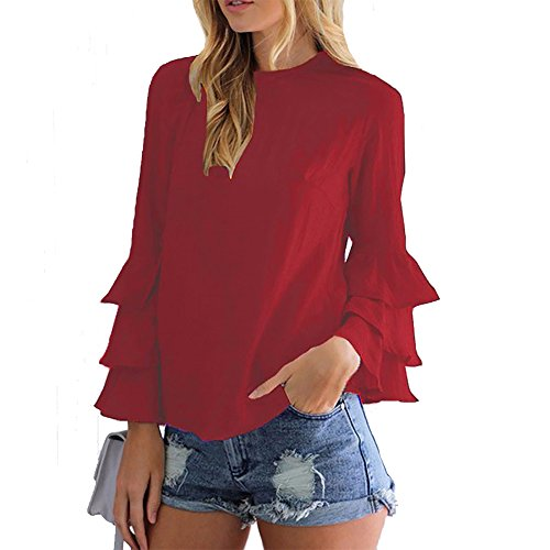 Calflint Women's Layered Flare Long Sleeve Blouse Vintage Tunic Tops Shirt 5X-Large Size (Tiered Ruffle Top)