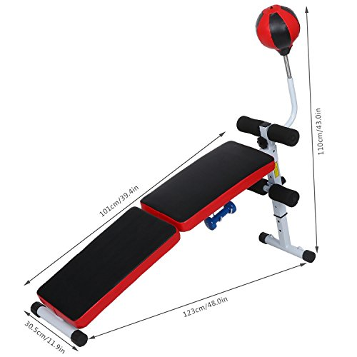 Fully Folding Adjustable Fitness Bench Weight Lifting Gym Home Speed Ball Dumbbell [US STOCK]