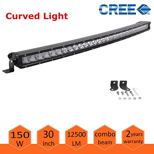 30inch CREE Curved LED Light Bar 150W single Row Spot Flood Combo Driving Lamp LED Work Light for Off Road Truck Car ATV SUV UTE UTV Jeep Boat,IP67 Waterproof