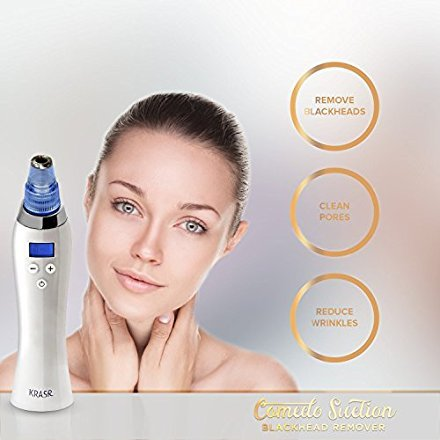 [2018 UPGRADED] The Original Comedo Suction Microdermabrasion Machine Blackhead Removal Rechargeable Skin Peeling Machine By Krasr Comedone Extractor Set - Exclusive by KRASR (Image #1)