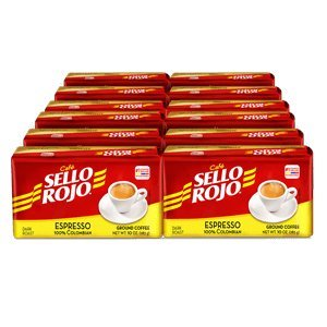Cafe Sello Rojo Espresso | Best selling coffee brand in Colombia | 100% Colombian dark roast ground arabica coffee | Premium Cuban Expresso Coffee type | Freshly vacuum packed in bricks (Pack of 12)