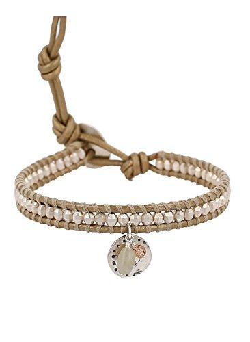 Chan Luu Beaded Single Wrap Bracelet on Stone-color Leather with Charms (Chan Luu Single Wrap)
