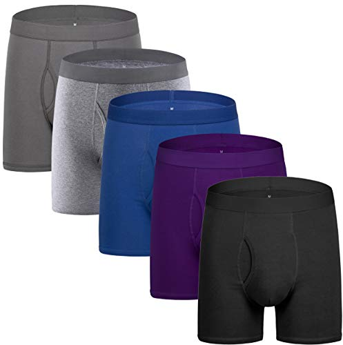 - 5Mayi Men's Underwear Boxer Briefs Cotton Regular Long Mens Boxer Briefs Underwear Men Pack of 5 XL