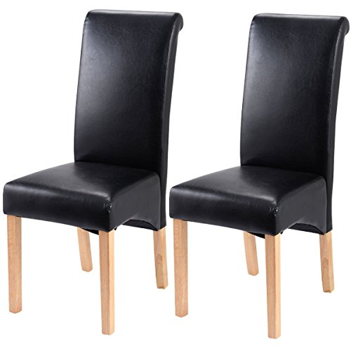 Giantex Set of 2 Leather Wood Contemporary Dining Chairs Elegant Design Home Room (Black)