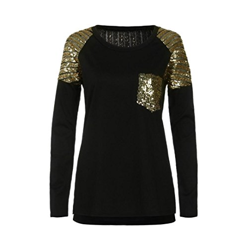 Easytoy Women Casual Long Sleeve Sequined Stitching Pocket Irregular Tops Blouse (Black, L) by Easytoy (Image #4)
