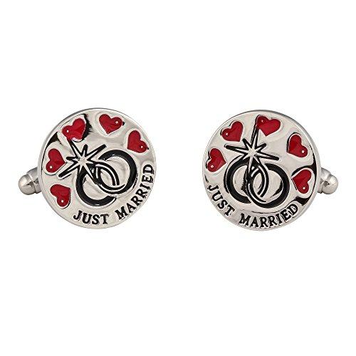 """Boutons de manchette avec inscription """"Just Married"""""""