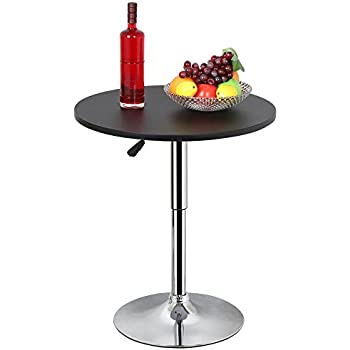Amazoncom Topeakmart Modern Black Square Pedestal Table Swivel - Adjustable height cocktail table