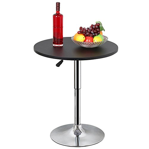 Topeakmart Black Round Cocktail Table with Stainless Steel Base Pedestal Tables Adjustable Height & 360 Swivel Kitchen Home Bar Furniture - Adjustable Height Small Table