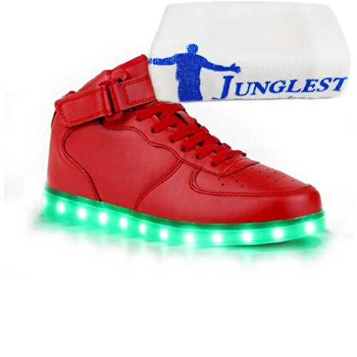 (Present:small towel)JUNGLEST® Women Men Couple LED Light Glow Sneakers USB Cha High Top - Red