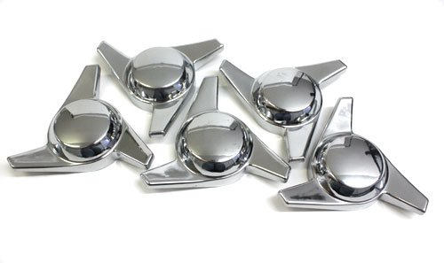 - 3 Bar Chrome Plastic Spinner Knock Offs Cragar Keystone Center Caps Set of 4