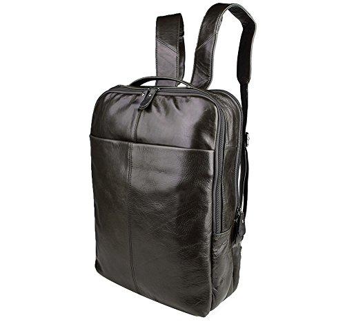 Genda 2Archer Männer und Frauen Voyager Laptop Backpack Leder Daypack Knapsack (Kaffee) Schwarz Grau WtK3le