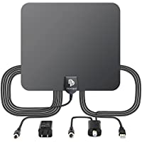 TV Antenna,Novopal HDTV Antenna with Amplifier,Indoor TV Antenna Booster 50 Mile Range with USB Power Supply Signal Booster Upgraded Version Better Reception High Performance Coaxial Cable