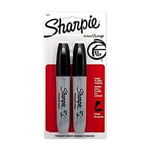 Sharpie Chisel Tip Permanent Markers: 2 Black Markers. Sanford Model 38262