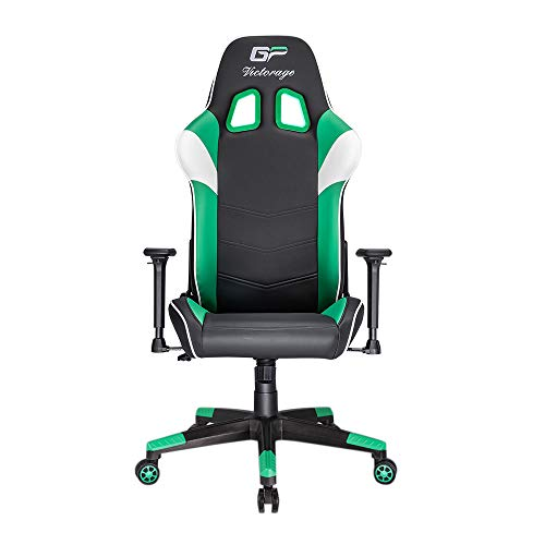 VICTORAGE Gaming Chair GP Series- Professional & Textured- Gaming/Streaming - Long time Sitting- Inspired by Racing car- Ergonomic Design- Rocking Function (Green) VICTORAGE