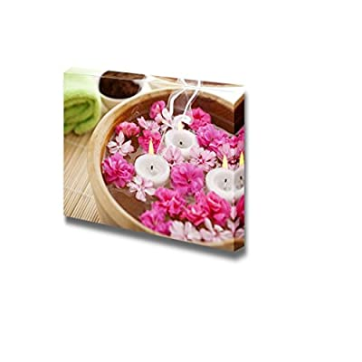 Crafted to Perfection, Wonderful Style, Spa Therapy with Flowers in Water on a Bamboo Mat Wall Decor