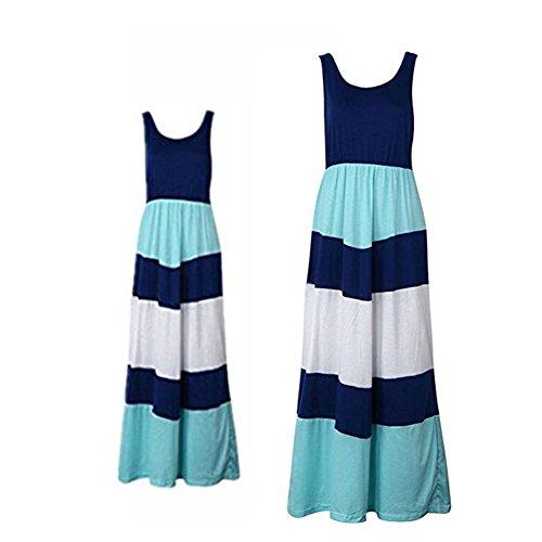 Mother Daughter Stripe Dress Beach Long Maxi Matching Shirt Outfits