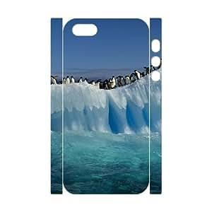 3D [Cute Penguin] Penguins on Iceberg Case For HTC One M7 Cover {White}