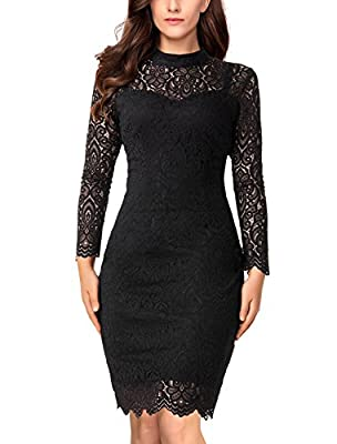 Noctflos Women's Floral Lace Long Sleeve Bodycon Pencil Cocktail Party Dress