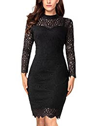 Womens Floral Lace Long Sleeve Bodycon Pencil Cocktail Party Dress
