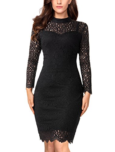 Noctflos Women's Black Elegant Long Sleeve Lace Fitted Cocktail Party Dress for Dinner Church Office Funeral Spring