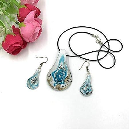 Ecloud Shop® Conjunto Collar Pendientes Cristal de Murano Azul Fiesta